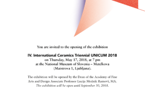 IV. International Ceramics Triennial UNICUM 2018
